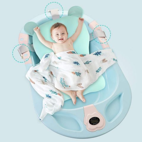 Haokaini Baby Bathtub Seat, Newborn Sit-up Bathing Shower Support Mesh, Anti-Slip, Adjustable Comfortable Shower Lounger Basin Pad for Infant