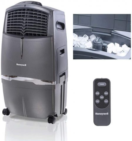 Honeywell 525-790CFM, Fan & Humidifier with Ice Compartment & Remote, CL30XC, Gray Indoor Portable Evaporative Cooler, 525 CFM