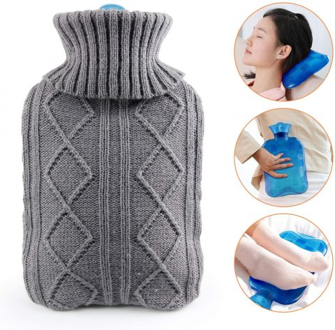 Hot Water Bottle with Cover KKTICK Hot Water Bag for Kids Thicker PVC Water Injection Warm Bottle 1L Warm Body Pain Relief & Daily Use