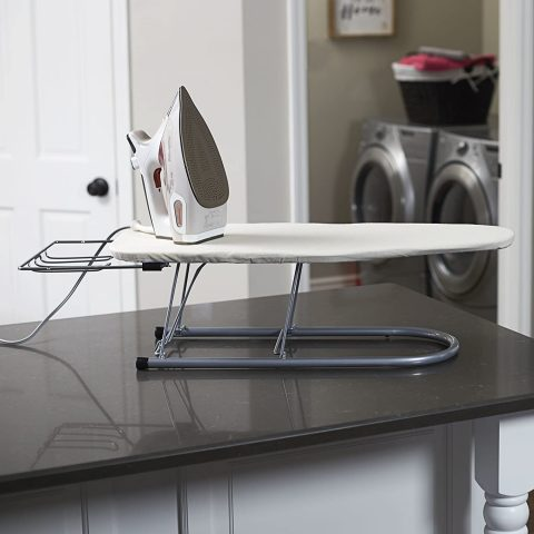 Household Essentials 131210 Small Steel Table Top Ironing Board with Iron Rest Natural Cover