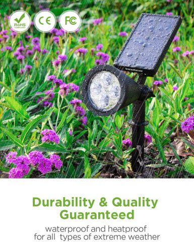 InnoGear Solar Lights Outdoor, Upgraded Waterproof Solar Powered Landscape Spotlights 2-in-1 Wall Light Decorative Lighting Auto OnOff for Pathway Garden Patio Yard Driveway Pool, Pack of 2 (White)
