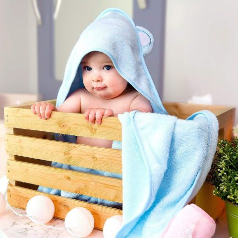 Jungle Snugs Organic Bamboo Hooded Baby Towel with Washcloth - Ultra Soft, Super Absorbent, and Naturally Hypoallergenic - Large Hooded Towel for Baby Boy or Girl - Premium Kids Animal Design (Blue)