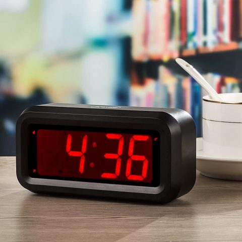 KWANWA LED Digital Alarm Clock Battery Operated Only Small for BedroomWallTravel with Constantly Big Red Digits Display