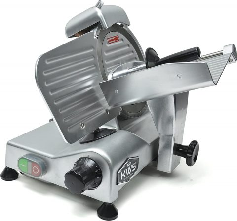 KWS Commercial 320w Electric Meat Slicer 10 Frozen Meat Deli Slicer Coffee Shoprestaurant and Home Use Low Noises (Stainless Steel Blade - Silver)