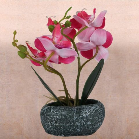 LIVILAN Pink Silk Artificial Orchid Arrangements with Ceramic Vase Fake Flowers for Decoration Table Centerpiece Realistic Vivid
