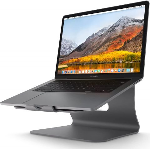 Laptop Stand - Bestand Aluminum Cooling Computer Stand [Update Version] Stand, Holder for Apple MacBook Air, MacBook Pro, All Notebooks, Grey (Patented)