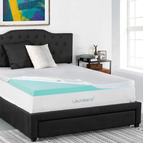 Lauraland 2-Inch Mattress Topper Queen, Ventilated Gel Infused Memory Foam Mattress Topper, Washable Hypoallergenic Cover & Active Cooling Washable Cover