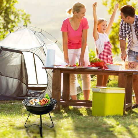LeFroom 14-inch Charcoal Grill Outdoor Camping Courtyard Picnic Roast Meat Home BBQ Charcoal Oven