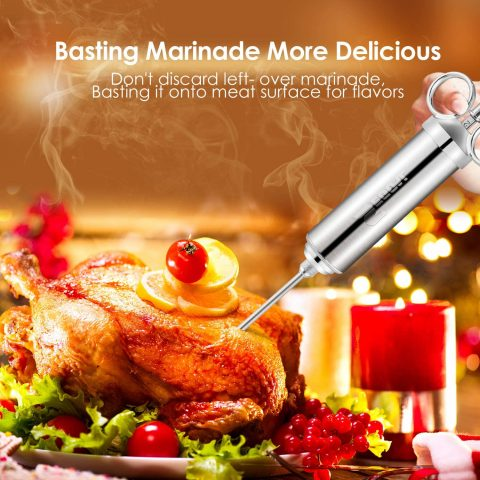 Meat Injector Syringe Food Grade 304 Stainless Steel 2-oz Large Capacity with 3 Marinade Needles for Thanksgiving, Christmas, Dinner, Turkey, BBQ Grill Smoke, Comes with Velvet Bag