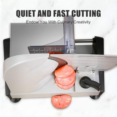 "Meat Slicers Electric, Food Deli Slicers with Two Removable 7.5"" Serrated Stainless Steel Blade Upgrade Precisely Cuts Meat, Cheese, Bread, Fruit & Veggies, Adjustable Thickness Dial, Non-Slip Feet (2 Blade x 150W)"