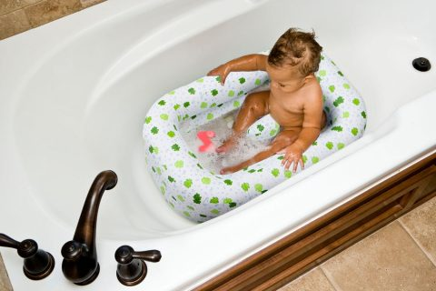 Mommy's Helper Inflatable Bath Tub Froggie Collection, WhiteGreen, 6-24 Months