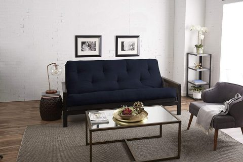 Mozaic Full Size 8-inch Cotton Twill Gel Memory Foam Futon Mattress, Navy