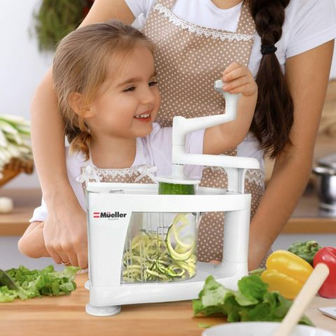 Mueller Spiral-Ultra Multi-Blade Spiralizer, 8 into 1 Spiral Slicer, Heavy Duty Salad Utensil, Vegetable Pasta Maker and Mandoline Slicer for Low CarbPaleoGluten-Free Meals