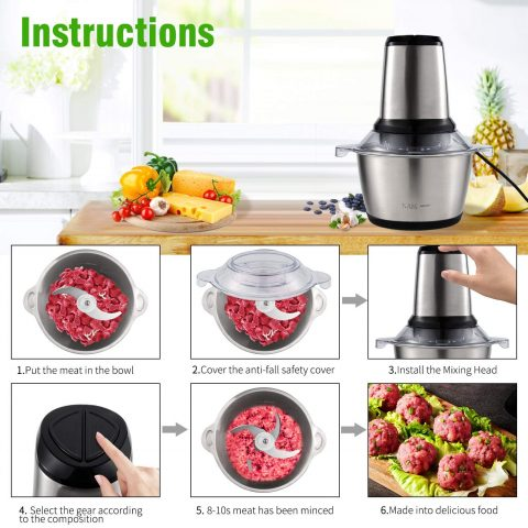 NGOZI Meat Grinder, Electric Food Chopper (2L 350W), Stainless Steel Kitchen Food Processor for Meat, Vegetables, Fruits with Stainless Steel Bowl and 4 Sharp Blades