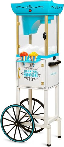 Nostalgia Inch Tall Snow Cone Cart, Metal Scoop Makes 48 Icy Treats, Includes Storage Compartment, Wheels For Easy Mobility – WhiteBlue