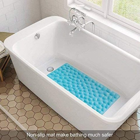 OTHWAY Non-Slip Bathtub Mat Soft Rubber Bathroom Bathmat with Strong Suction Cups