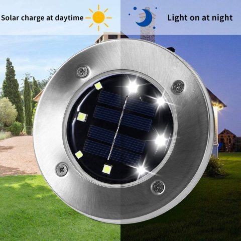 Otdair Solar Ground Lights, 8 LED Outdoor Solar Disk Lights, Cold White Waterproof In-Ground Lights, Solar Garden Lights, Landscape Lights for Pathway, Yard, Deck, Patio, Walkway, 8pcs