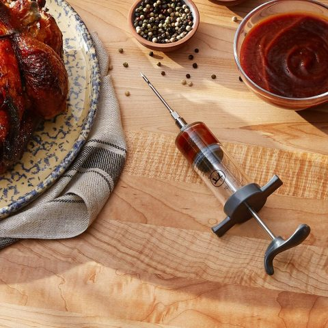 Outset Q120 Marinade Injector with Removable Needle, Stainless Steel and Plastic