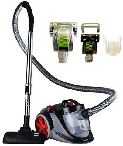 Ovente Bagless Canister Cyclonic Vacuum with HEPA Filter, Comes with PetSofa Brush, Telescopic Wand, Combination Bristle BrushCrevice Nozzle and Retractable Cord, Featherlite, Corded (ST2010)