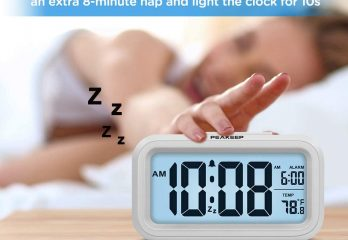 PEAKEEP Smart Night Light Digital Alarm Clock with Indoor Temperature, Battery Operated Desk Small Clock (White)