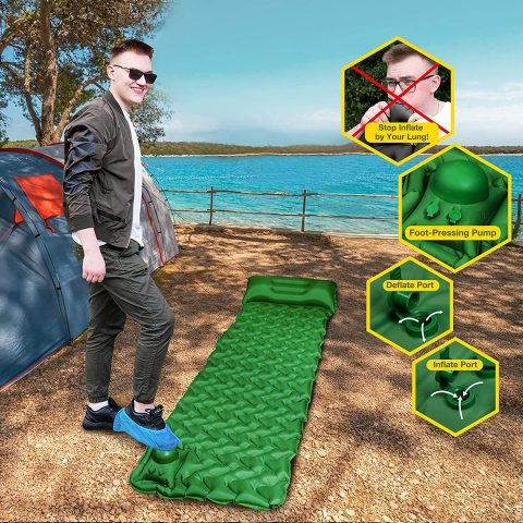 POPCHOSE Camping Sleeping Pad with Air Pillow Compact Ultralight Inflatable Camping Mat Built in Pump, Extra Thickness Durable Waterproof Air Tent Mat for Backpacking, Hiking, Road Trip