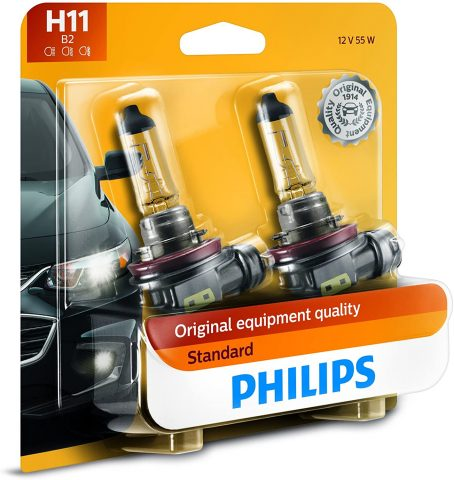 Philips H11 Standard Halogen Replacement Headlight Bulb, 2 Pack