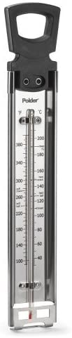 Polder CandyJellyDeep Fry Thermometer Stainless Steel with Pot Clip