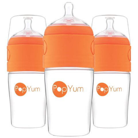 PopYum 9 oz Anti-Colic Formula MakingMixingDispenser Baby Bottles, 3-Pack