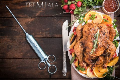 Premiala Awesome Meat Injector - The Original Turkey Injector Creates The Juiciest Turkey and BBQ Ever! 3 Needles + Cleaning Brushes + 100% Food-Grade Materials = Guaranteed to Keep Your Family Safe