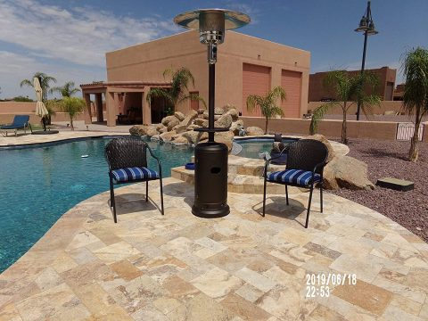 PrimeGlo HLDS01-CG-A Tall Patio Propane Heater wWheels, Table and Cover, 87 Inches, Bronze Bundle