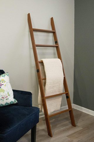 RELODECOR 6-Foot Wall Leaning Blanket Ladder Laminate Snag Free Construction (Brown)