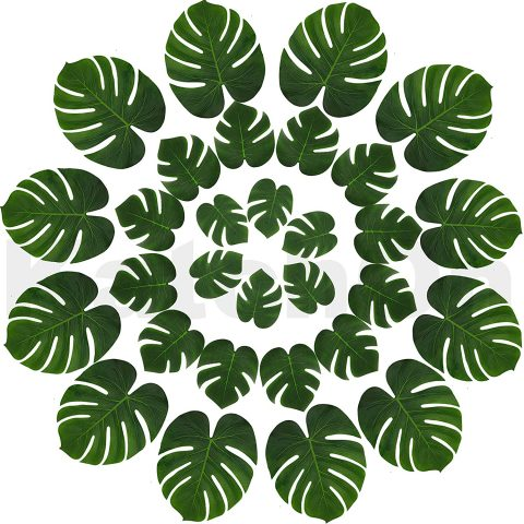 Real Looking Artificial Plant Leaves - Pack of 30 Monstera Palm Leaves Tropical Leaves Decorations Palm Leaves Decorations Luau Safari Party Supplies Jungle-Beach-Birthday Theme 3 Sizes