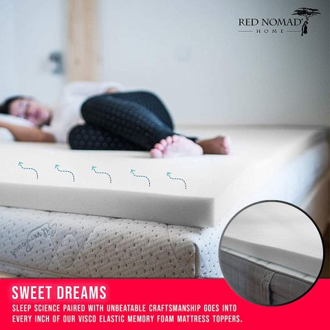 Red Nomad Memory Foam Mattress Pad 2 Inch - Queen Size Mattress Topper for Back Pain Relief. Breathable, Comfortable Cooling Bed PadMade in The USA