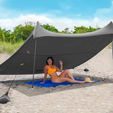 Red Suricata Family Beach Sunshade - Sun Shade Canopy UPF50 UV Protection Tent with 4 Aluminum Poles, 4 Pole Anchors, 4 Sandbag Anchors Large & Portable Shelter Tarp