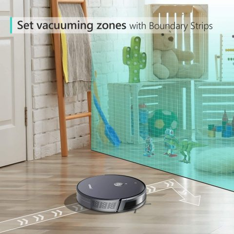 Robotic Vacuum Cleaner, with 1800Pa Ultra Strong Suction, Pet Hair Cleaning, Smart Path Mapping, Self-Charging Sweeper, 2 Boundary Strips, Automatic Robot for Hard Floor, Low-Pile Hard Carpets