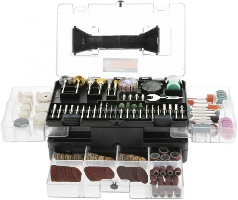 Rotary Tool Accessories Kit, Meterk 349pcs Grinding Polishing Drilling Kits, 18 Shank Electric Grinder Universal Fitment for Easy Cutting Grinding Sanding Sharpening Carving Polishing (349pcs)