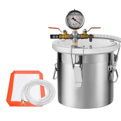 SUNCOO 2 Gallon Stainless Steel Vacuum Chamber for Degassing Urethanes, Resins, Silicones and Epoxies