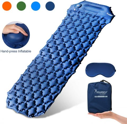 SYOURSELF Inflatable Sleeping Pad,Self-Inflating Camping Mat- Ultralight Compact Waterproof Foldable TPU Air Mattress Pads for Backpacking,Travel,Hiking,Tent,Beach,Outdoor + Eye Mask