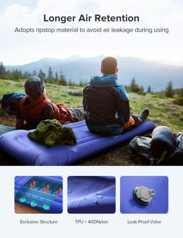 Sable Camping Sleeping Pad, Self Inflating Camping Mat with Built-in Pillow & Pump, Insulated & Ultralight, Compact Waterproof Fast Inflatable for Backpacking Hiking Tent, 5R-Value, Storage Bag