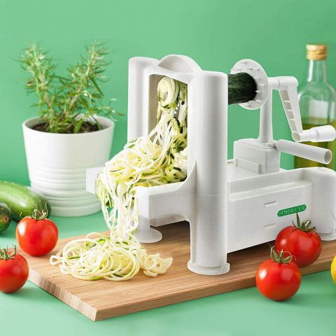 Spiralizer 5-Blade Vegetable Slicer, Strongest-and-Heaviest Spiral Slicer, Best Veggie Pasta Spaghetti Maker for KetoPaleoGluten-Free, Comes with 4 Recipe Ebooks