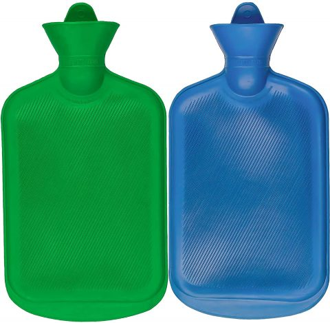 SteadMax 2 Hot Water Bottles, Natural Rubber -BPA Free- Durable Hot Water Bag for Hot Compress and Heat Therapy, Random Colors (2 Pack)