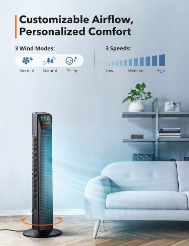 TaoTronics Tower Fan, Oscillating Fan Powerful Cooling Floor Fan with Remote & Large LED Display, 9 Modes, Easy Clean, Up to12H Timer Bladeless Standing Fan Portable for The Whole Room Home Office
