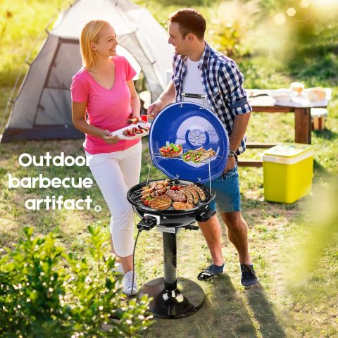 Techwood 15-Serving Electric Grill IndoorOutdoor Electric BBQ Grill, 240'' Nonstick Removable Stand Grill 1600W, Blue