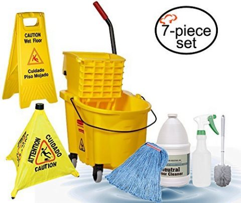 Tiger Chef Commercial Grade Mop and Bucket Housekeeping Janitorial Supplies Set, Includes Mop Bucket and Wringer Combo, Mop Head, Caution Wet Floor Sign, Safety Cone, Spray Bottle, Multi-purpose Brush