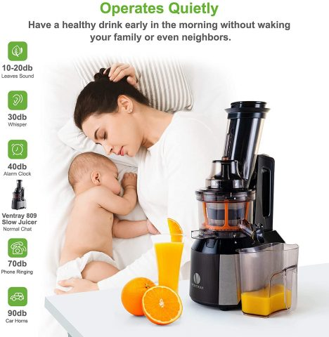 Ventray Big Feeding Mouth,Large Chute,Masticating Juicer,BPA Free,Juice Extractor,Vertical High Juice Yield, Recipe,Brush,Juice Jars,Black