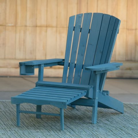 WUnlimited RA123-2 W Unlimtied Outdoor Adirondack Chair with Ottoman Set, Blue