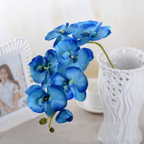 Whitelotous 1 Piece Artificial Butterfly Orchid Silk Flower DIY Plant Home Living Room Decoration(Blue)