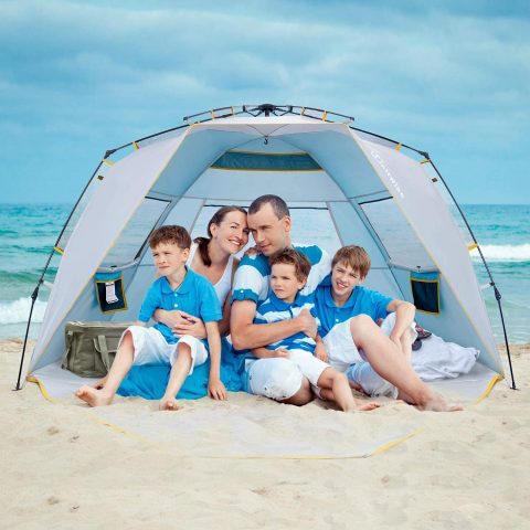 WolfWise 4 Person Easy Up Beach Tent UPF 50+ Portable Instant Sun Shelter Canopy Umbrella with Extended Zippered Porch