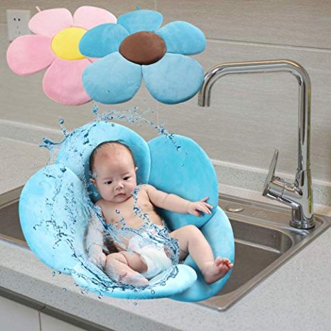 YOUQING Baby Bath Mat Soft Flower Bath Mat Seat Support Foldable Petal Plush Cushion for Baby Bathtub