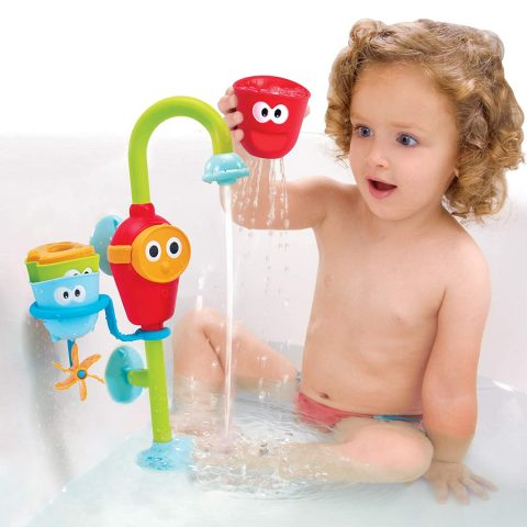 Yookidoo Baby Bath Toy - Flow N Fill Spout - 3 Stackable Cups and Automated Spout
